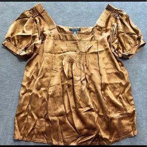 Laundry Shelli Segal Peasant Silk Blouse Gold Top